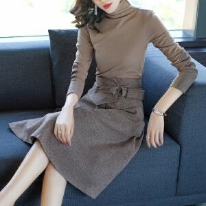RANJU然聚2017女装冬季新品新款加厚长袖连衣裙时尚套装裙两件套时髦气质潮