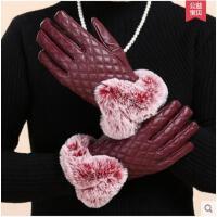 新款中老年女士保暖手套老人手套女老年人加绒毛皮质分指手套 可礼品卡支付