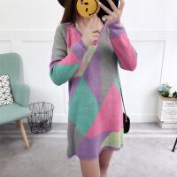2017新款韩版复古宽松几何图案针织衫中长款宽松毛衣 图片色 均码