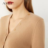 Amii�O��p奢羊�q衫套�^毛衣女2020年新款V�I�@瘦羊毛��衫�_衫