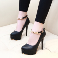 超高跟鞋细跟单鞋春季新款韩版夜店一字扣防水台浅口圆头女鞋