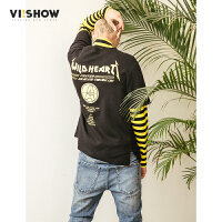VIISHOW2018新款T恤青年学生男士拼接长袖体恤假两件潮牌春季条纹