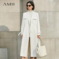 Amii极简欧货潮bf韩版双排扣风衣女2018秋冬装新款宽松中长款外套.