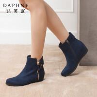 Daphne/达芙妮专柜正品女靴 冬款时尚圆头内增高侧拉链铆钉女短靴