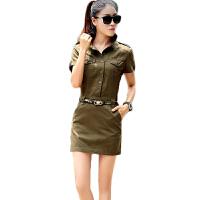 新款连衣裙包臀裙修身显瘦短袖 军迷户外制服诱惑军装