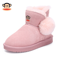 【2件6折折后到手价119.4】大嘴猴雪地靴女童棉靴2018冬季新款保暖加绒男童短靴子儿童雪地靴
