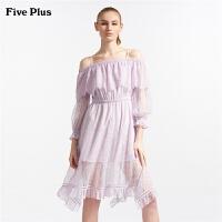 Five Plus女装蕾丝连衣裙一字领露肩荷叶边短裙高腰宽松气质