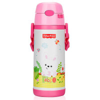 费雪保温杯400ml吸管杯宝宝学饮杯防漏带手柄背带婴幼儿水壶保温杯FP-8605