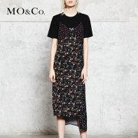 MOCO 印花v领长款吊带连衣裙背带裙MA173DRS102 摩安珂