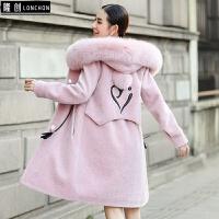 羊剪绒大衣女装冬季新款带帽狐狸领皮毛一体中长款皮草外套潮 粉