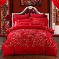 婚庆四件套结婚床上用品大红色新婚床品被套床单1.8m床