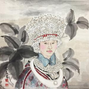 刘泉义《少数民族姑娘》著名画家