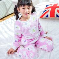 女童睡衣冬季珊瑚绒套装秋冬可爱宝宝公主保暖家居服