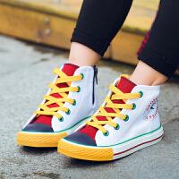 儿童板鞋男童鞋子休闲鞋女童小白鞋宝宝高帮帆布鞋