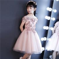 粉色女童一字肩蓬蓬纱裙主持人钢琴走秀晚礼服儿童礼服花童公主裙