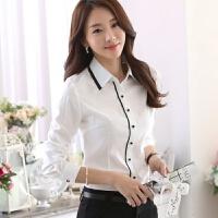2018春装新款加绒白衬衫女长袖韩版修身职业装女士衬衣正装工作服 白色 【常规款】不加绒