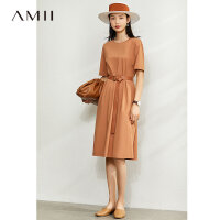 Amii极简时尚气质连衣裙夏季新款蕾丝拼接织带黑色宽松中长裙