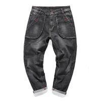 哈伦裤男冬季黑色复古宽松牛仔裤男士韩版大码潮流青年弹力长裤子