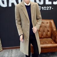 男士帅气中长款风衣男冬季韩版毛呢大衣发型师潮流加长款呢子外套