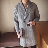 男士毛呢大衣宽松潮流秋冬季韩版风衣男中长款加厚条纹呢子外套潮 灰色