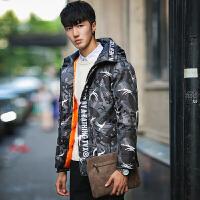 新款冬季男装外套迷彩防寒衣服男士羽绒服中长款青年男韩版潮 灰色 S