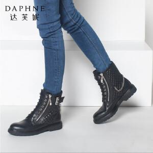 达芙妮正品女鞋冬季潮流女短靴高帮平底英伦圆头系带拉链马丁靴子