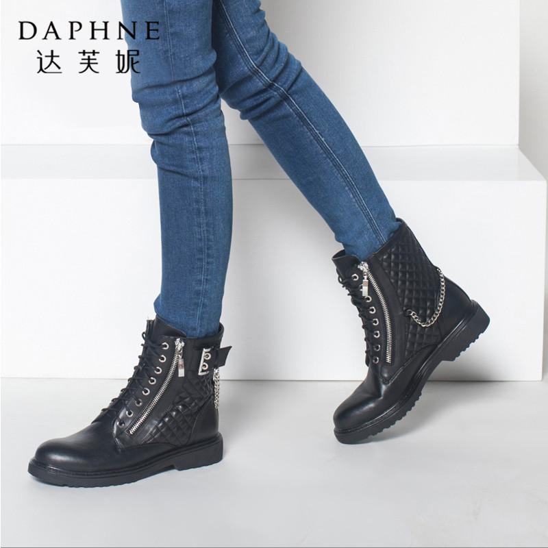 Daphne/达芙妮正品女鞋冬季潮流女短靴高帮平底英伦圆头系带拉链马丁靴子