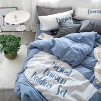 北欧水洗棉1.5/1.8米床单四件套小清新刺绣棉单人被套床单
