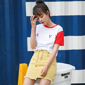 【满200减100】AGECENTRE时代中心 2017春女新款潮夏装字母印花拼接撞色宽松学生T恤