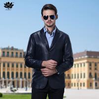逸纯印品(EASZin)男士皮西服 仿真真皮水洗皮 中年短款单排扣西装领皮衣夹克男装外套