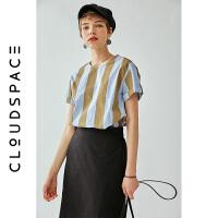 【2件8折/3件75折】云上生活2019夏新款撞色条纹上衣气质圆领短袖衬衫女C5699