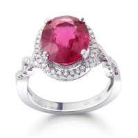 先恩尼 白18K金 碧玺 戒指 钻石戒指 碧玺戒指 HFGCH201 宝石