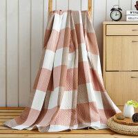 三层夏季水洗棉毛巾被双人盖毯纱布薄毯子空调毯办公室午睡毯学生