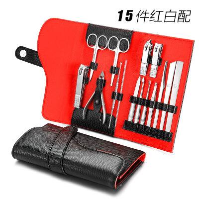 指甲刀套装指甲剪指甲钳修脚刀套装不锈钢修甲工具家用15件2dr 15件套 家用套装
