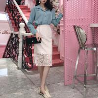 夏装新款韩版复古温柔风蕾丝半身裙女气质开叉中长款包臀裙A字裙