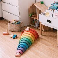 蒙氏智力开发拼装拼插益智积木儿童玩具1-2岁幼儿园木头大号彩虹