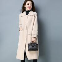 长款加厚女式毛衣外套 冬季新品仿双面呢大衣外套女装