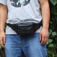 男士腰包男户外运动多功能收银包女斜挎包防水真皮腰包做生意包潮