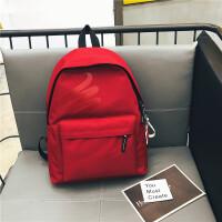 双肩包2018新款校园纯色学生书包男女休闲运动潮流旅行背包大容量