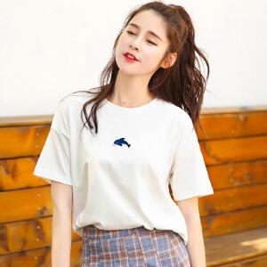 夏季新品韩版百搭宽松棉短袖T恤女装纯色小鲸鱼刺绣小衫女