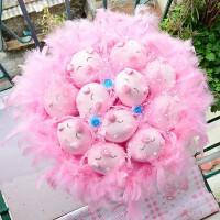 毕业520情人节创意可爱猪卡通花束娃娃玩偶情侣生日实用礼物 粉色