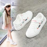 女童儿童时尚防滑运动鞋小学生白色软底板鞋