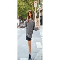 冬季新款欧美风纯色西装领飞行夹克女式加绒加厚廓形外套 灰色