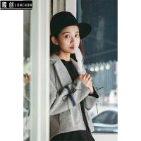 短款毛呢外套女秋冬新款韩版学生翻领条纹呢子气质小西装 灰色