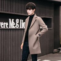 2017秋冬新款羊绒大衣男士中长款青年风衣外套韩版宽松毛呢大衣男