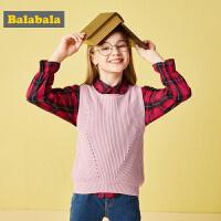 巴拉巴拉童装女童马甲中大童吊带背心儿童秋装2018新款韩版针织衫