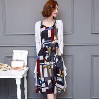 18新款披肩连衣裙两件套花色系带无袖背心裙棉麻长裙套装裙
