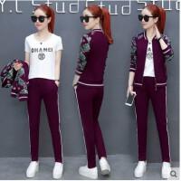 韩版休闲大码套装女 新款时尚印花修身显瘦运动衣卫衣运动服三件套