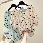 爱心V领雪纺衫女短袖2019夏季新款韩版宽松遮肚子洋气很仙的上衣
