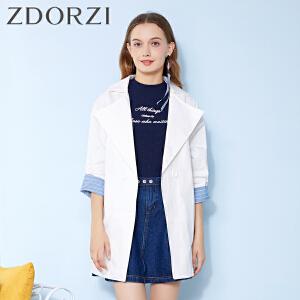 zdorzi卓多姿2纯色翻领宽松蝙蝠袖七分袖外套女634811